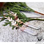 Aura Quartz crystal rose gold earrings