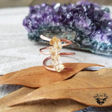 Citrine copper wrap ring-Wanderlust Hearts