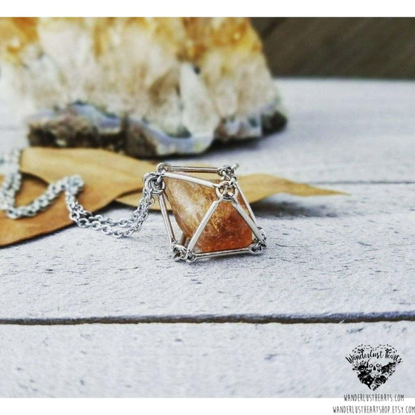 Citrine pendulum cage necklace-Wanderlust Hearts