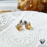 Citrine stud earrings-Wanderlust Hearts