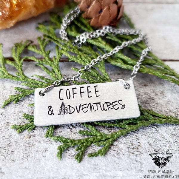 Coffee and Adventures necklace-Wanderlust Hearts