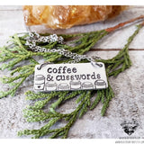 Coffee & Cuss words stamped bar necklace