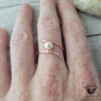 Copper pearl ring-Wanderlust Hearts