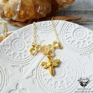 Gold bee charm necklace-Wanderlust Hearts