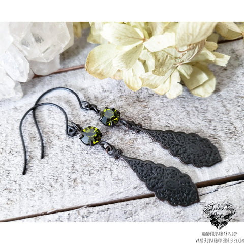 Gothic crystal earrings-Wanderlust Hearts
