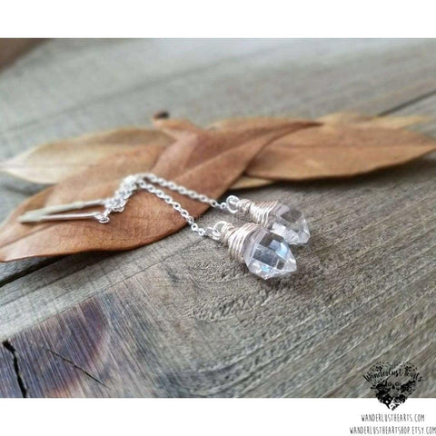 Herkimer Diamond threader earrings-Wanderlust Hearts
