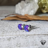 Lavender Opal moon stud earrings-Wanderlust Hearts