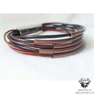 Layered leather bracelet | Copper tube accents-Wanderlust Hearts