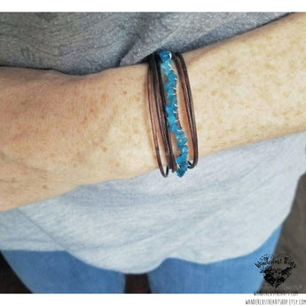 Leather wrap bracelet | Neon blue Apatite-Wanderlust Hearts