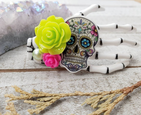 Lime Skeleton hand hair clip