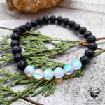 Mermaid glass Lava stone bracelet