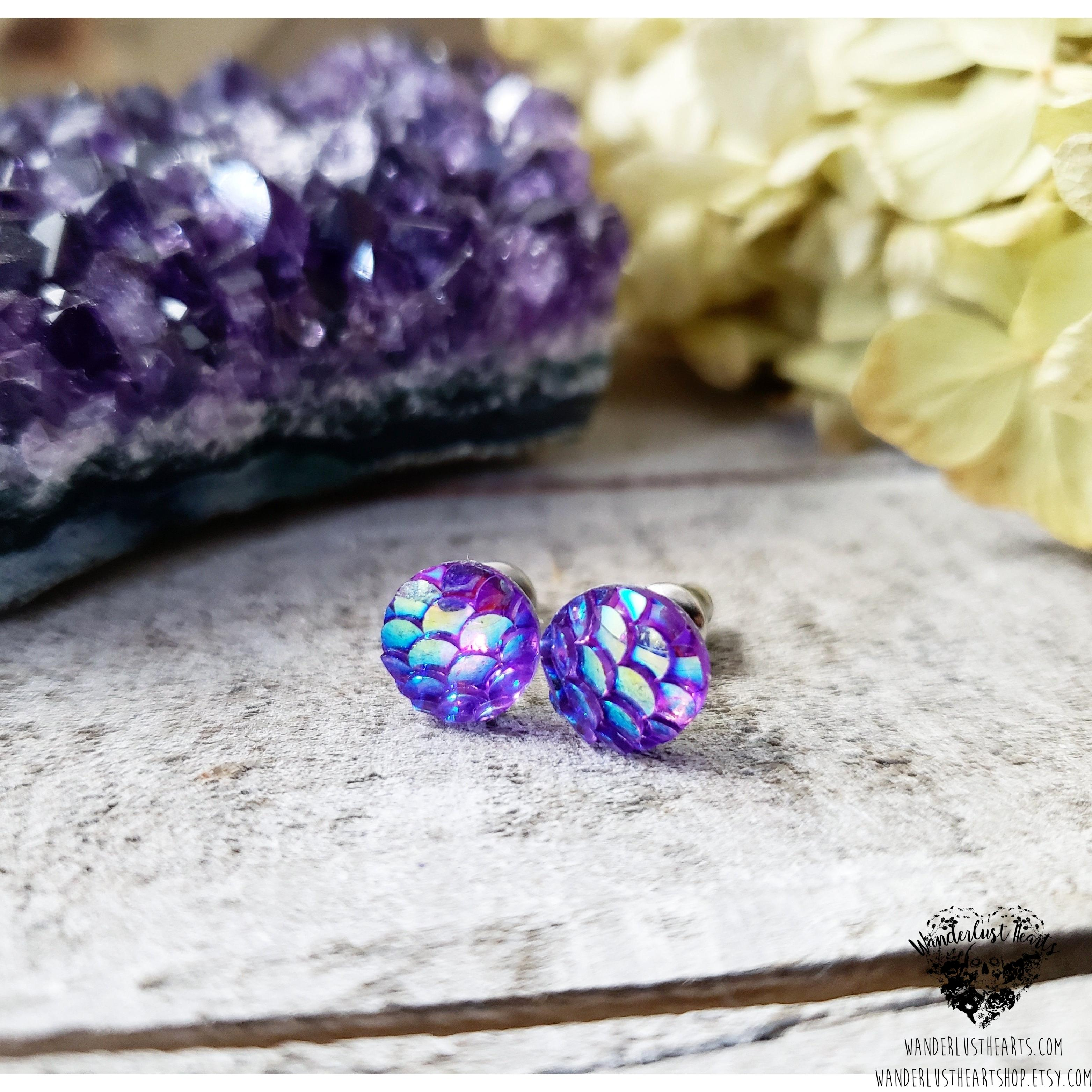 Mermaid scale stud earrings-Wanderlust Hearts