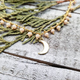 Brass moon beaded necklace