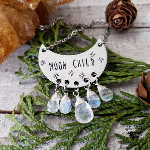 Moon child stamped necklace-Wanderlust Hearts