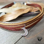 Moon choker necklace | Hand cut brown leather-Wanderlust Hearts