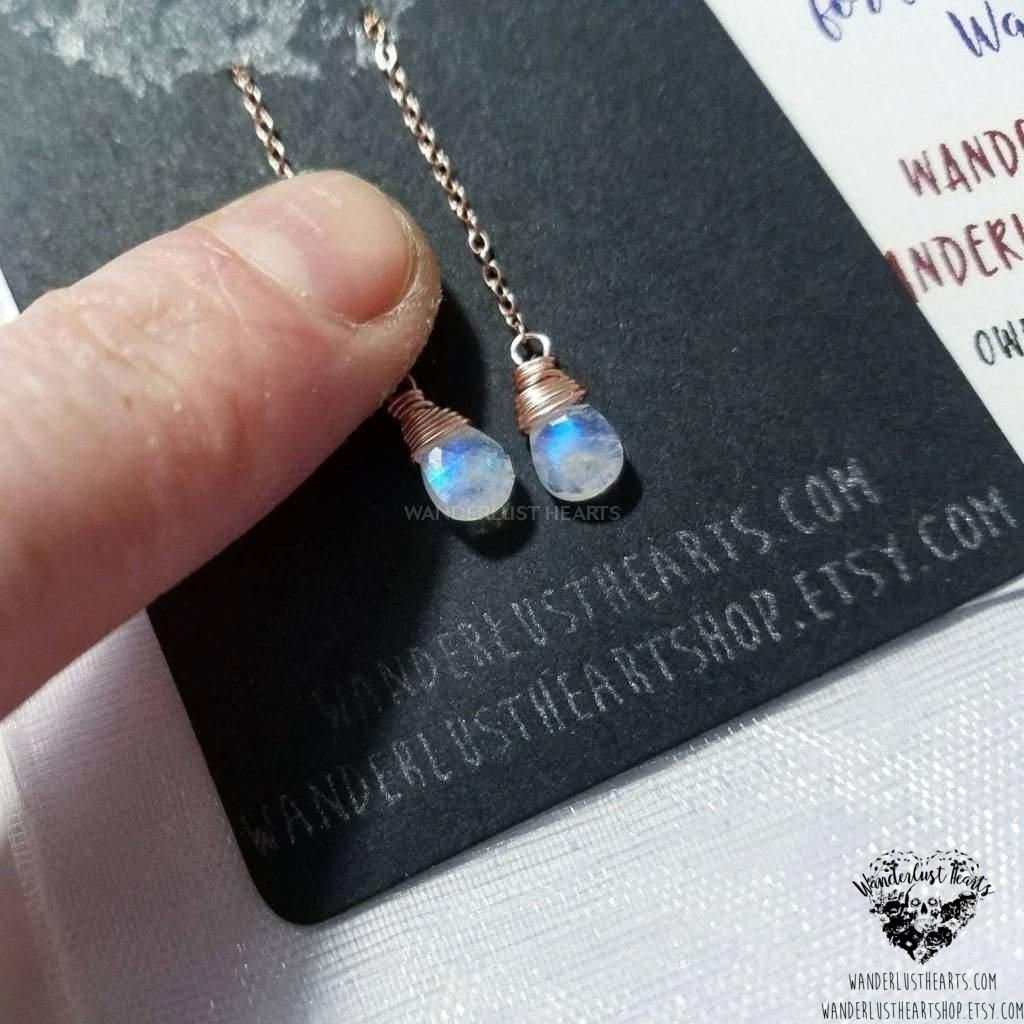 Moonstone rose gold threader earrings-Wanderlust Hearts