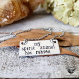 My spirit animal has rabies necklace-Wanderlust Hearts