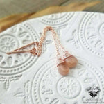 Peach Moonstone threader earrings-Wanderlust Hearts