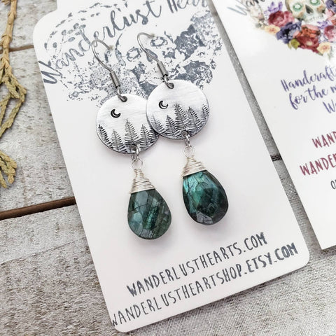 Nature forest Labradorite earrings