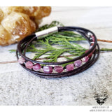 Pink Tourmaline leather bracelet-Wanderlust Hearts