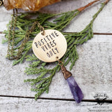 Positive vibes stamped necklace