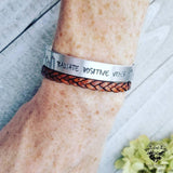 Radiate positive vibes stamped cuff bracelet-Wanderlust Hearts