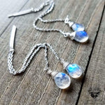 Rainbow moonstone threader earrings | .925 Sterling silver-Wanderlust Hearts