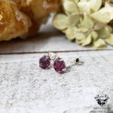 Raw Garnet stud earrings-Wanderlust Hearts