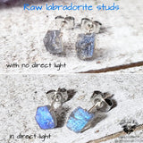 Raw Labradorite stud earrings-Wanderlust Hearts