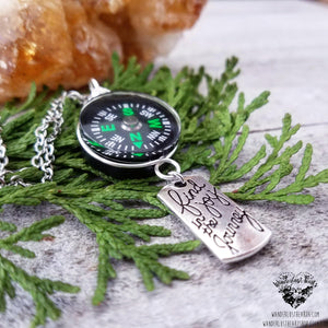 Real Compass necklace-Wanderlust Hearts
