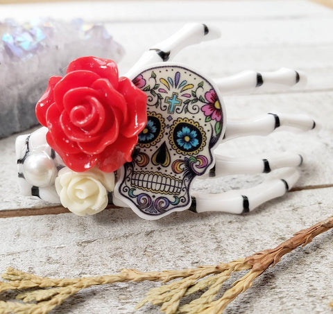 Red Skeleton hand hair clip