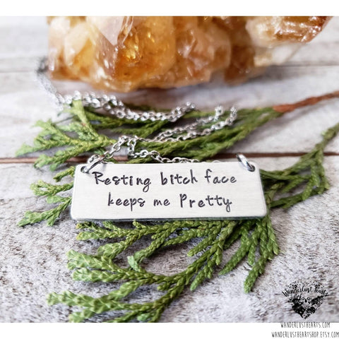 Resting bitch face necklace