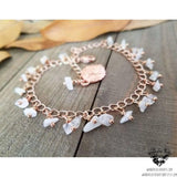 Rose gold anklet | rainbow moonstone beaded-Wanderlust Hearts