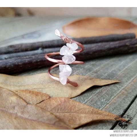 Rose quartz copper ring-Wanderlust Hearts