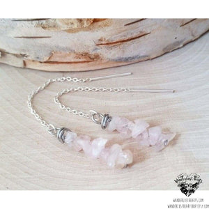 Rose quartz threader earrings | .925 sterling silver-Wanderlust Hearts