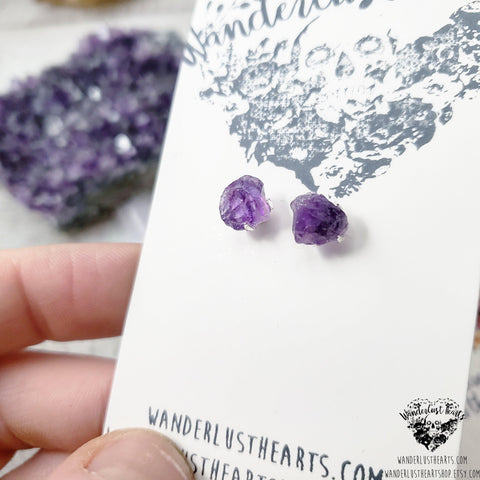 Rough Amethyst stud earrings-Wanderlust Hearts