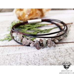 Rutilated quartz leather bracelet-Wanderlust Hearts