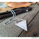 Silver triangle necklace | Hammered silver-Wanderlust Hearts