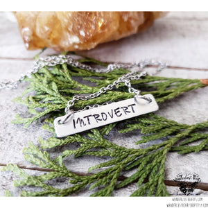 Stamped silver Introvert bar necklace-Wanderlust Hearts