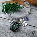 Travel charm bangle bracelet-Wanderlust Hearts