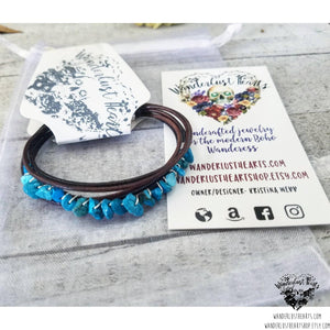 Turquoise leather layer bracelet-Wanderlust Hearts