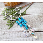 Turquoise moon hair clip