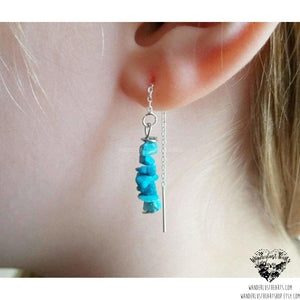 Turquoise threader earrings-Wanderlust Hearts