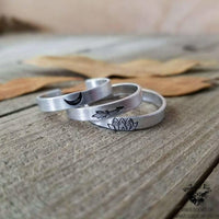 Vibes Stamped stacking rings-Wanderlust Hearts