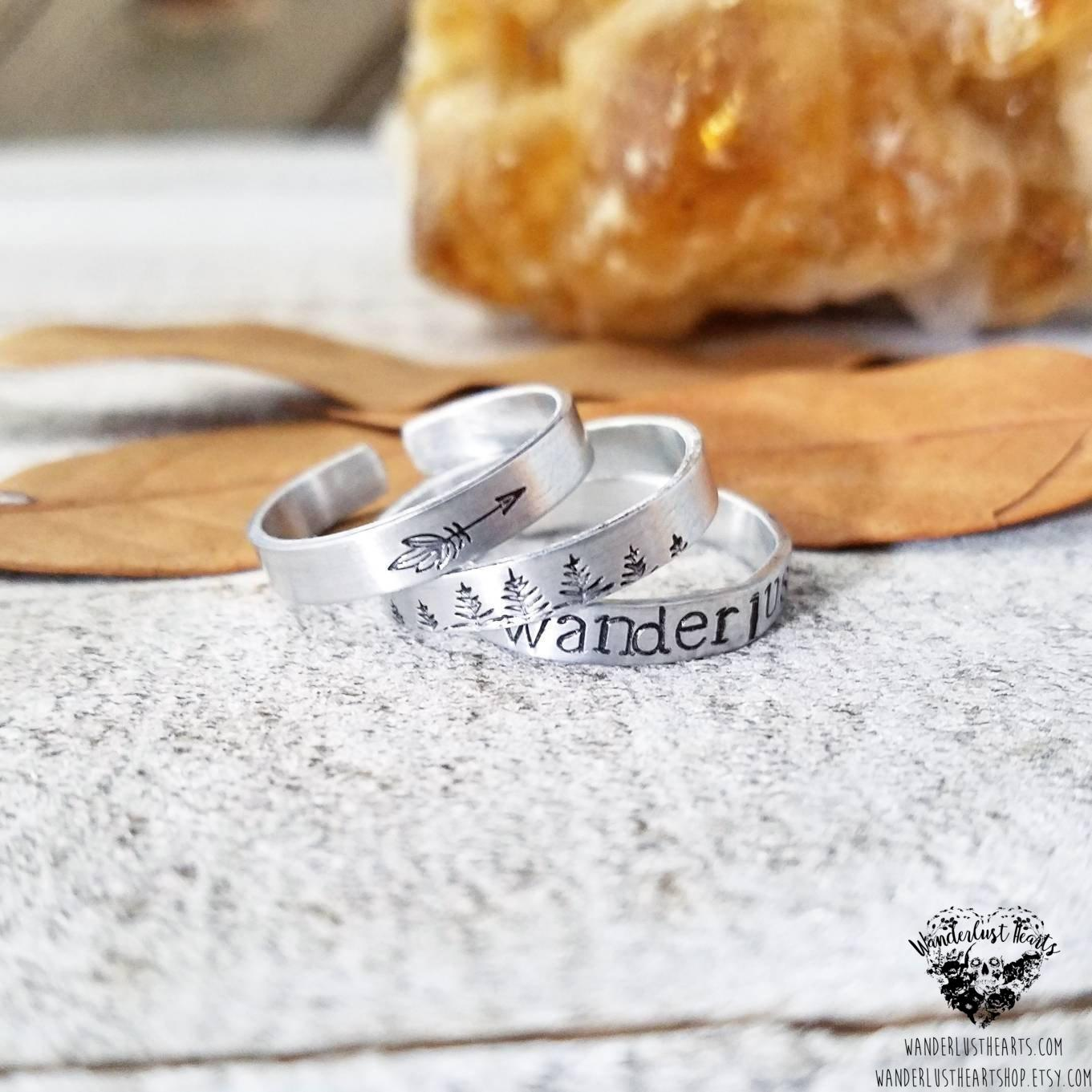 Wanderlust Stamped stacking rings-Wanderlust Hearts