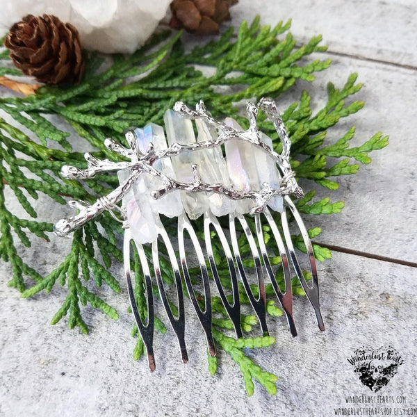 Winter Aura quartz hair comb-Wanderlust Hearts