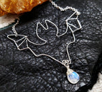 Silver wire Bat necklace