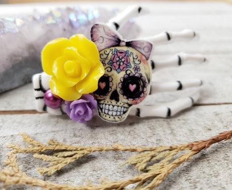 Yellow Skeleton hand hair clip