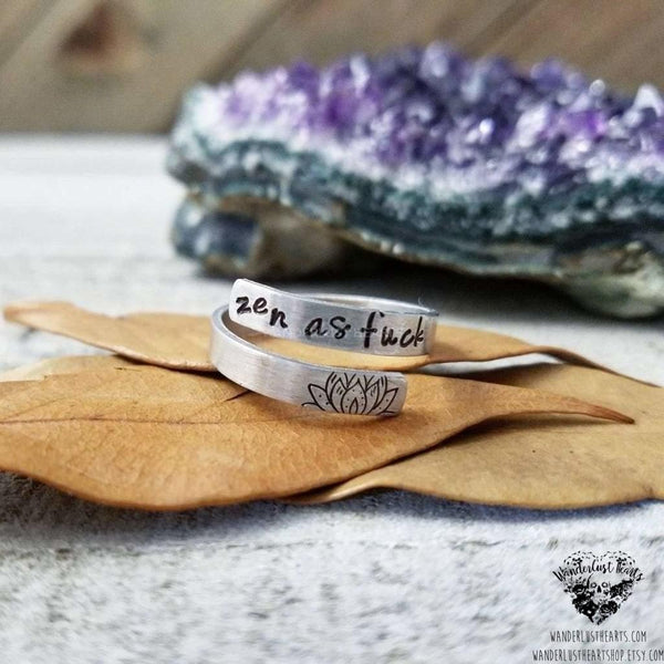Zen as Fck stamped ring-Wanderlust Hearts