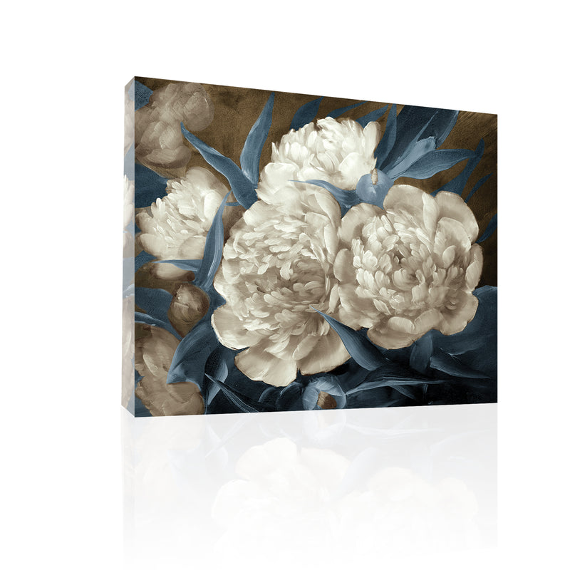 Peonies Painting in Blue-brown, canvas